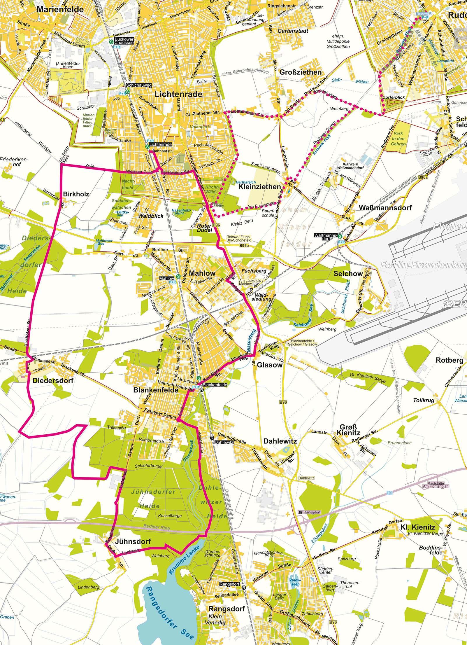 Karte Berlin Lichtenrade.Karte Zur Brucken Radtour Durch Den Naturpark Nuthe Nieplitz
